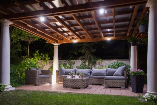 Contemporary Patio And Pergola At Night Time At Townsville Carpenters